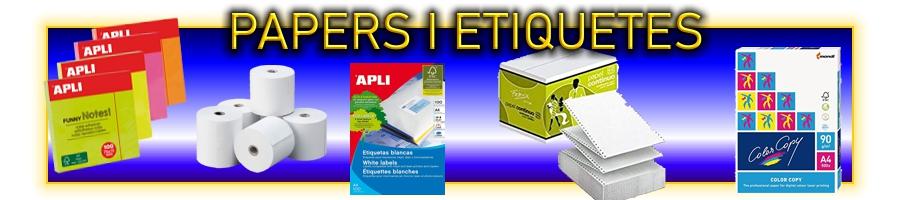 Papers a4 - a3 - a5 per impressora, en blanc, colors, diversos gramatges. Etiquetes manuals i per impressió.