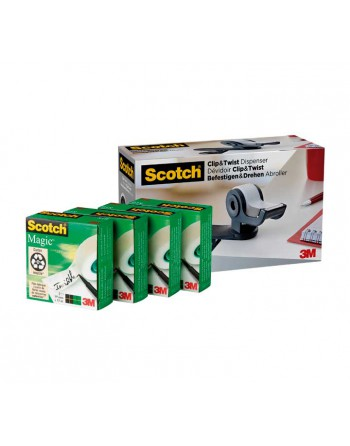 SCOTCH PORTARROLLOS CLIP Y TWIST C19 + 4 CINTAS MAGIC TAPE 19MM X 33M 7100212799