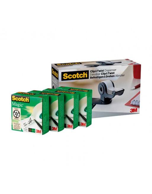 SCOTCH PORTARROLLOS CLIP & TWIST C19 + 4 CINTAS MAGIC TAPE 19MM X 33M 7100212799
