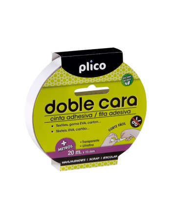 PLICO CINTA ADHESIVA DOBLE CARA 20MX15MM - 13312