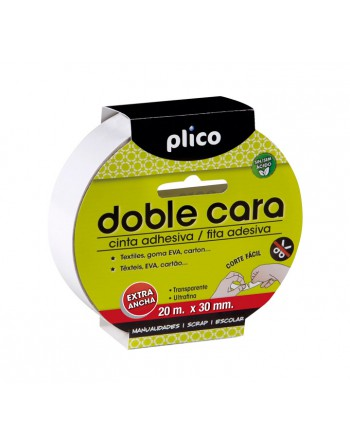 PLICO CINTA ADHESIVA DOBLE CARA 20MX30MM - 13320