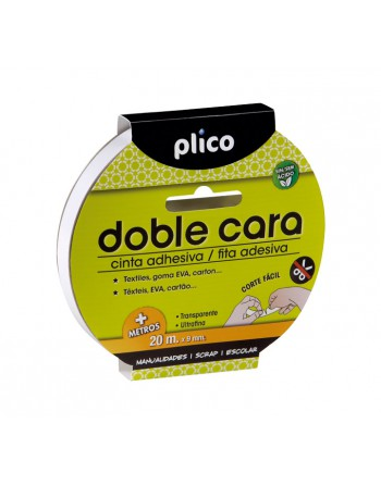 PLICO CINTA ADHESIVA DOBLE CARA 20MX9MM - 13311