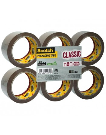 SCOTCH PACK 6 CINTA EMBALAJE CLASICA 50X66M MARRON - CL.5066.F6.B
