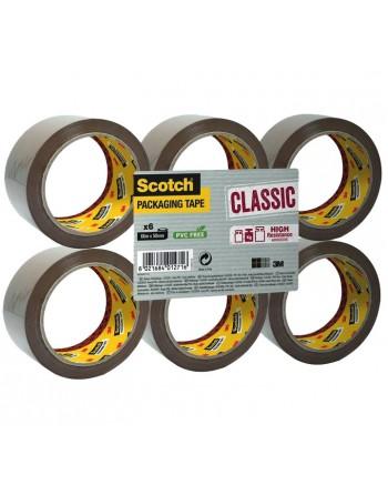 SCOTCH PACK 6 CINTA EMBALAJE CLASICA 50X66M MARRON - CL.5066.F6.B