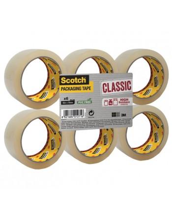 SCOTCH PACK 6 CINTA EMBALAJE CLASICA 50X66M TRANSPARENTE - CL.5066.F6.T