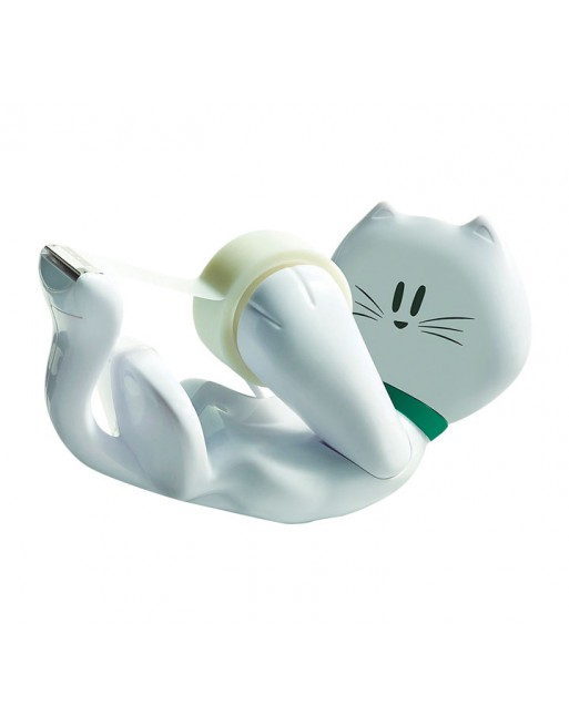SCOTCH DISPENSADOR CINTA ADHESIVA GATO + 1ROLLO CINTA 19MMX8.9M - C39