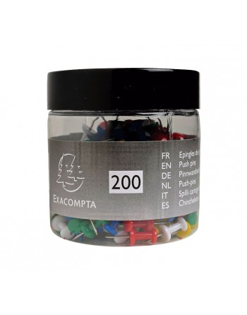 EXACOMPTA 200 AGUJAS PUSH PINS 10MM SURTIDO - 14769E