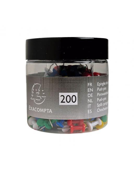 EXACOMPTA 200 AGUJAS PUSH PINS 10MM SURTIDO - 14769E