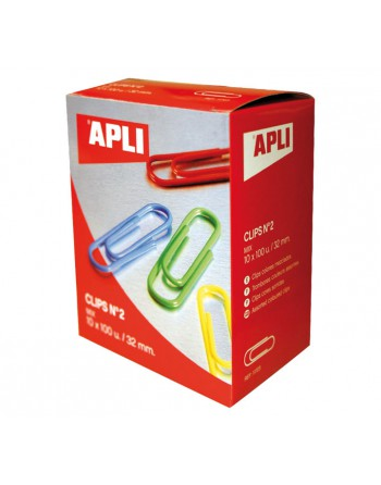 APLI 100 CLIPS SURTIDO COL. 32MM - 11723