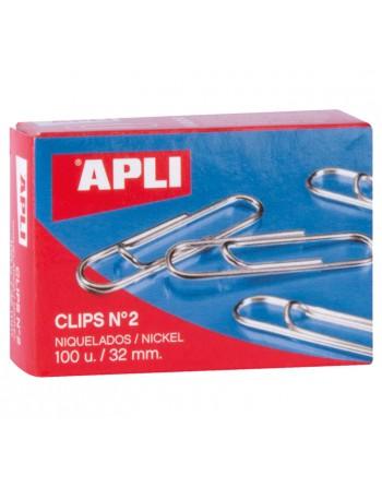 APLI 100 CLIPS LABIADOS NIQUELADOS 3 2MM - 11711