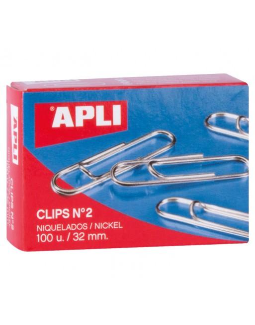 APLI 100 CLIPS LABIADOS NIQUELADOS 32MM - 11711