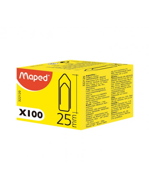 MAPED CAJA 100 CLIPS PLANO 25MM - 322120