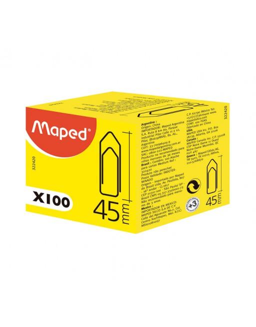 MAPED CAJA 100 CLIPS PLANO 45 MM - 322420