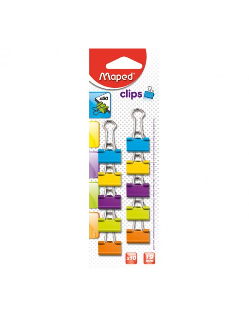 MAPED BLISTER 10 PINZAS DOBLE CLIP 19MM SURTIDO - 36102