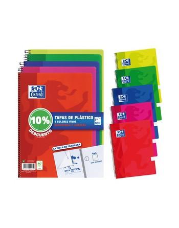 OXFORD PACK 4+1 CUADERNO SURTIDO VIVOS 4X4 FOLIO 80H 10%DTO - 400091365