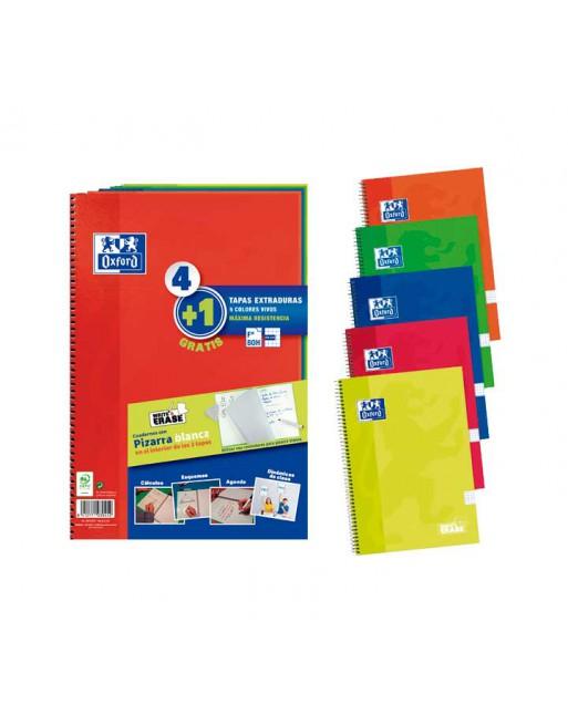 OXFORD PACK 4+1 CUADERNO SURTIDO VIVOS 4X4 FOLIO 80H C/PIZ BL - 400122761