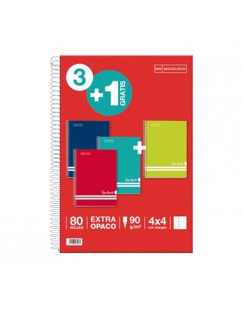 MIQUEL RIUS PACK 3+1 CUADERNOS SCHOOLBOOK INTENSOS 4X4 46996