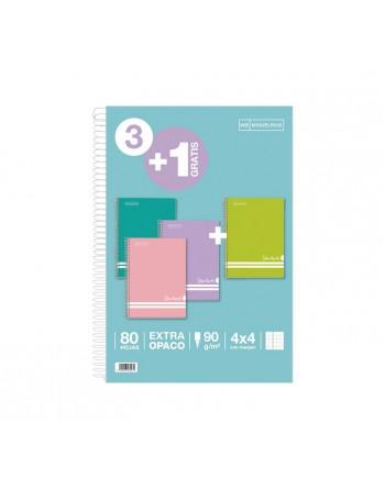 MIQUEL RIUS PACK 3+1 CUADERNOS SCHOOLBOOK PASTEL 4X4 46997