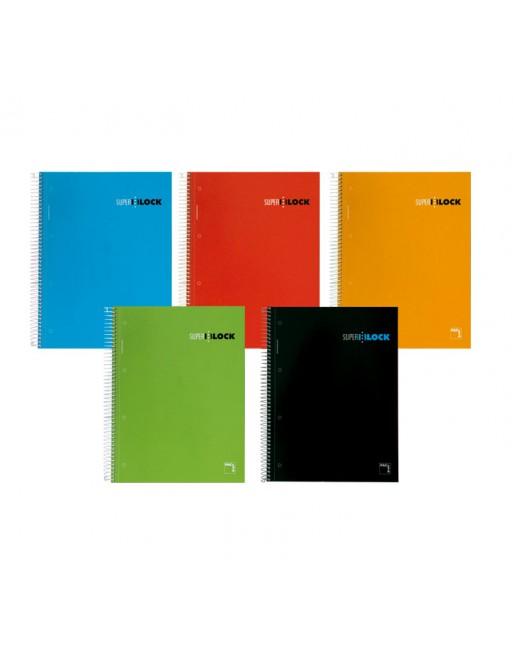 PACSA CUADERNO MICRO PERFORADO NOTEBOOK 5 TAPA DURA 160H 4T A5 5X5 TAP. SURTIDOS - 16392