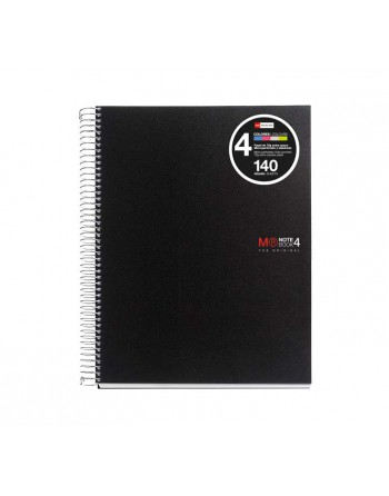 M.RIUS CUADERNO NOTEBOOK 4 A5 140H 70GR TAPA PLASTICO BASIC NEGRO- 47142