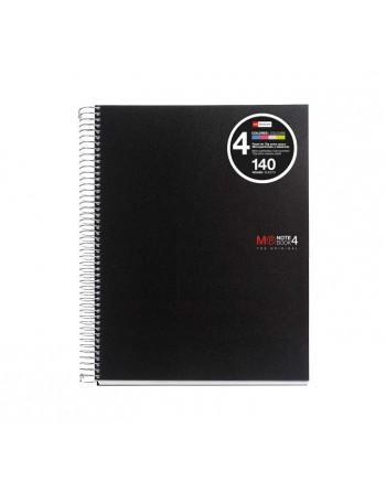 M.RIUS CUADERNO NOTEBOOK 4 A5 140H 70GR TAPA PLASTICO BASIC NEGRO- 47142