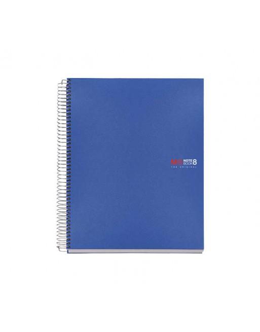 M.RIUS CUADERNO NOTEBOOK 8 A5 200H 70GR 5X5 TAPA PLASTICO AZUL - 42005
