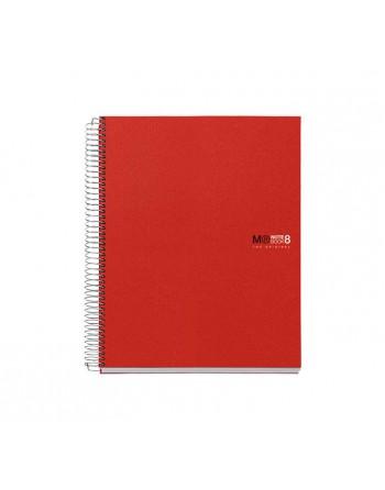M.RIUS CUADERNO NOTEBOOK 8 A5 200H 70GR 5X5 TAPA PLASTICO ROJO - 42003