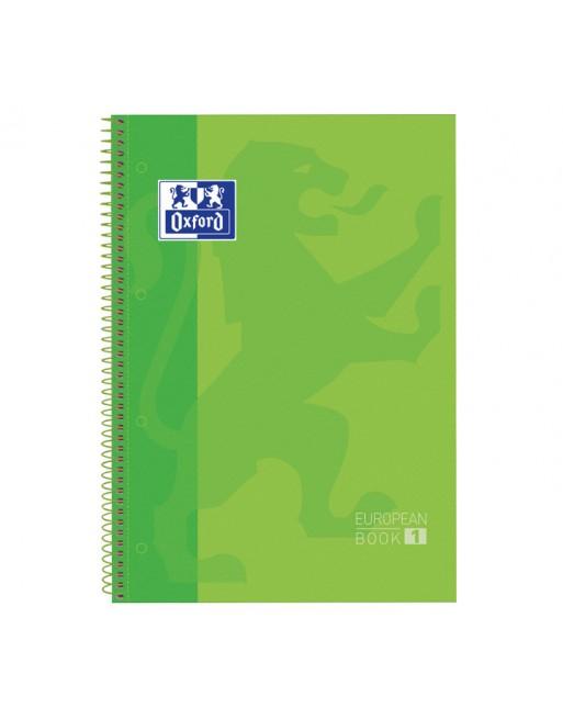 OXFORD CUADERNO EUROBOOK1 A4 80H 5X5 90GR TAPA EXTRADURA VERDE - 100430199