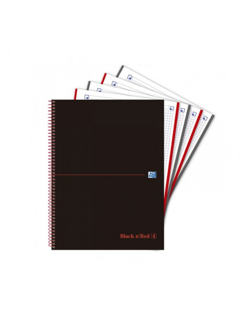 OXFORD CUADERNO EUROBOOK4 BLACK AND RED A4 120H 5X5 90GR TAPA PLASTICO - 400088488