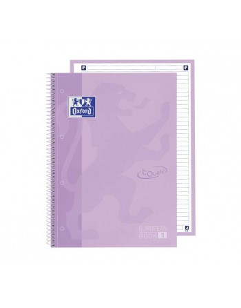 OXFORD PACK 5 CUADERNOS EUROPEANBOOK 1 TOUCH A4 HORIZONTAL 80h LILA PASTEL 400138325