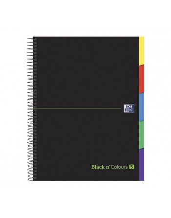 OXFORD CUADERNO EUROBOOK5 BLACK AND COLORS A4+ 100H 90GR 5X5 5 BANDAS CON PESTAÑA - 400088331