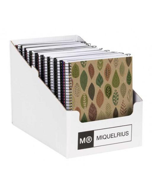 MIQUEL RIUS EXPOSITOR 21 NOTEBOOK 4 120 HOJAS 5X5 DE 80 GR. A5 RECICLADOS TAPA CARTON RECICLADO 6099