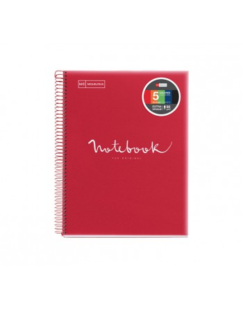 M.RIUS NOTEBOOK 5 POLPROPILENO HORIZONTAL A4 120H EMOTIONS ROJO - 48569