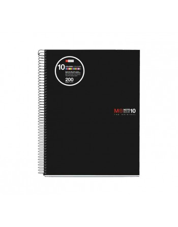 M.RIUS CUADERNO NOTEBOOK 10 POLIPROPILENO NEGRO A4 200H - 47009