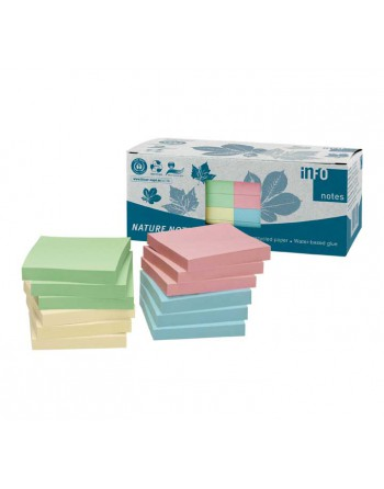 A - SERIES CAJA 12 BLOCS NOTAS ADHESIVAS RECICLADAS COLORES 75 x 75 mm 5654-88box