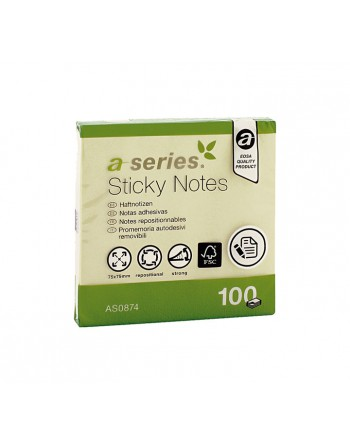 ASERIES BLOC 100 HOJAS NOTAS REPOSICIONABLES ADHESIVAS 75 X 75 MM AMARILLO - AS0874