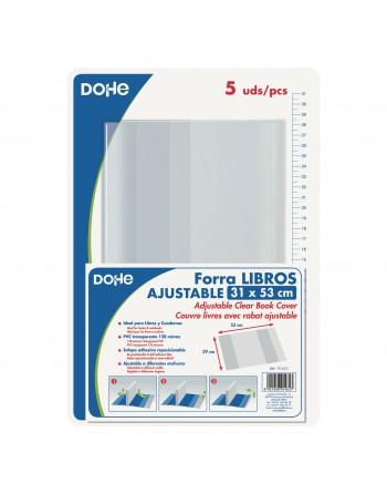 DOHE SET FORRALIBROS PVC AJUSTABLES TRANSPARENTE 312 FORMATO 530 X 310 - 5 UIDADES - 91433