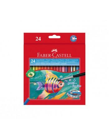 FABER CASTELL 24 LAPICES COLOR ACUARELABLE+PINCEL HT - 114425