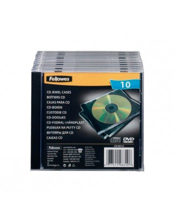 FELLOWES PACK 10 S CDS SENCILLOS JEWEL NEGRO - 98310