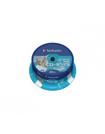 VERBATIM CD -R 700MB 52X SPINDLE 25 IMPRIMIBLE INKJET SUPER - 43439
