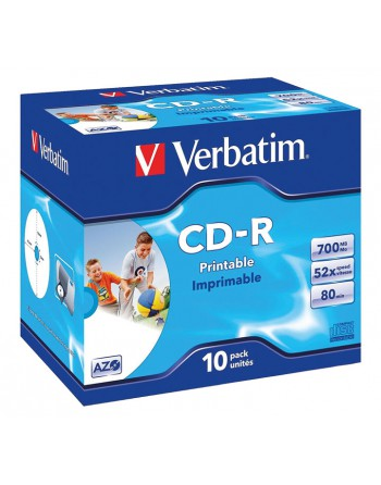 VERBATIM 10U CD-R 52X IMPRIM JEWEL CASE 70MB 43325 - VET 43325