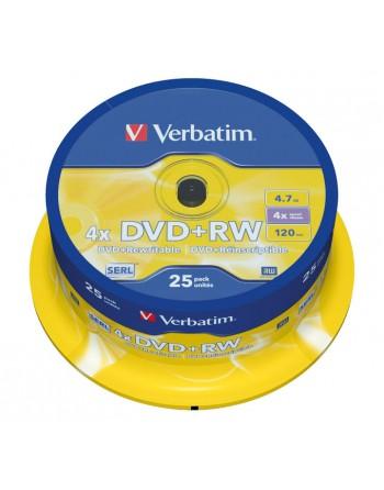 VERBATIM BOBINA 25U DVD+RW SERL 4X 4.7GB - 43489