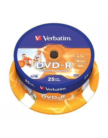 VERBATIM BOBINA 25U DVD-R 4.7GB 16X IMPRIMBLE - 43538