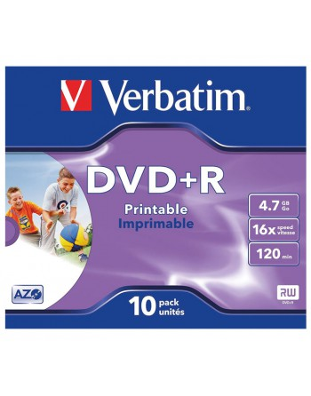 VERBATIM DVD +R 4.7GB 16X JEWEL CASE 10 IMPRIMIBLE - 43508