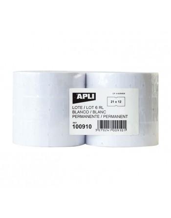 APLI PACK 6 ROLLOS 1000 ETIQUETA 21X12 BLISTER PERM RECT. - 100910