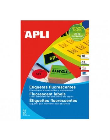 APLI BLISTER 20 HOJAS ETIQUETA FLUOR AMARILLO 210X297 CANTOS RECT - 2878