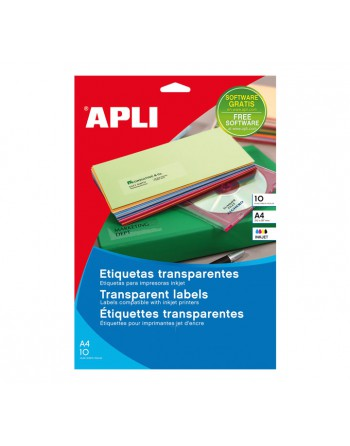 APLI BLISTER 10 HOJAS ETIQUETA TRANSPARENTE INK COL 210X297 - 10053
