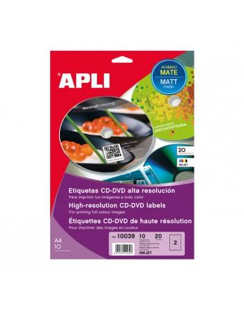 APLI BLISTER 10 HOJAS ETIQUETA CD MATE DIAMETRO 117 INK BLANCO MATE - 10039