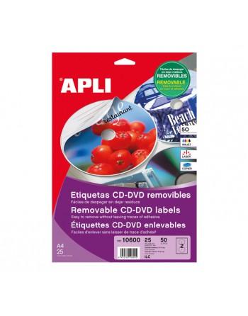 APLI BLISTER 5 HOJAS ETIQUETA CD/DVD 117/18MM - 10600