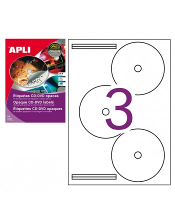 APLI PACK 100H ETIQUETAS CD-DVD OPACAS A4 - 10294